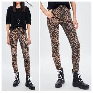 Zara high-waist leopard jeans stretch cropped 8